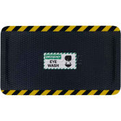 "Hog Heaven™ Sign Mat, Emergency Eye Wash, Horizontal Yellow Border, 69""x46""x7/8"""