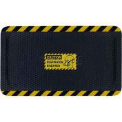 "Hog Heaven™ Sign Mat, Caution Respirator Required, Vertical Yellow Border, 69""x46""x7/8"""