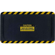 "Hog Heaven™ Sign Mat, Caution Shut Off Power, Horizontal Yellow Border, 69""x46""x7/8"""