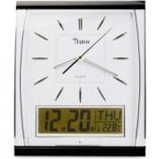 """Tatco Quartz Wall Clock with LCD Inset 14-1/2"""" x 11-3/4"""" Silver/Black"""