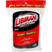 Libman Commercial High Power® 100% Cotton Premium White Shop Towels, 12 Pack - 590