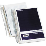 """TOPS® Wirebound Five-Subject Notebook 63859, 9-1/2"""" x 6"""", 175 Sheets/Pad, 1 Pad/Pack"""