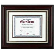 """Dax® Wall Frame with Linen Insert, Wall Mountable, 14"""" x 11"""", Wood, Mahogany"""