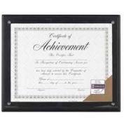 "Dax® Award Plaque, Wall Mountable, Horizontal/Vertical, 11"" x 8-1/2"", Wood, Black"