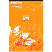 "Dax® Poster Frame, Wall Mountable, Horizontal/Vertical, 24"" x 36"", Plastic, Black"