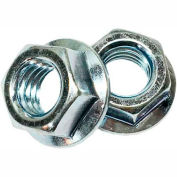 #6-32 Serrated Flange Hex Locknut - Case Hardened Steel (Baked) - Zinc - UNC - Pkg of 100