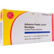 "Adhesive Junior Plastic Bandages, 40 pcs/Box, 3/8"" x 1.5"" - Pkg Qty 10"