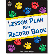 "Teacher Paw Prints Lesson Plan & Record Book W/Monthly Planner 2551, 11"" x 8-1/2"", White, 1 Each"