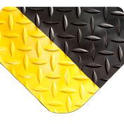 "Wearwell 415 Diamond Plate Diamond Plate Ergonomic Mat 24"" X 3' X 9/16"" Black/Yellow"