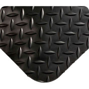 "Wearwell 497 Diamond Plate Diamond Plate Ergonomic Mat 24"" X 3' X 1"" Black"
