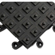 Wearwell ErgoDeck w/Integrated No-Slip Solid Cleats, 7/8in Thick, 18 x 18, Black