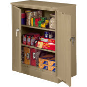 """Tennsco Deluxe Counter Height Storage Cabinet 4218DLX 53 - Welded 36""""W x 18""""D x 42""""H Light Gray"""