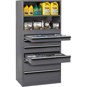 "Tennsco Shelving Drawer Cabinet A1-6-36-75-MGY - 6 Drawer 36x24x75 Drawer H"":(1)4"";(3)6"";(2)10"""