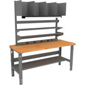 Tennsco Complete Packing Table with Butcher Block Square Edge Top - 72 x 30