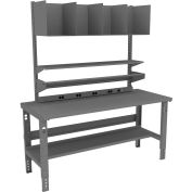 Tennsco Packing Table with Power Rail, Steel Square Edge Top - 72 x 36