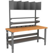 Tennsco Packing Table with Power Rail, Butcher Block Square Edge Top - 72 x 36