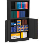 "Tennsco Bookcase Storage Cabinet BCD18-72-BLK - Welded 36""W x 18""D x 72""H Black"