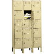 Tennsco Box Locker BK5-121212-3-LGY - Five Tier w/Legs 3 Wide 12x12x12 Unassembled, Light Grey