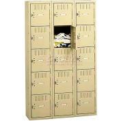 Tennsco Box Locker BK5-121212-C-LGY - Five Tier No Legs 3 Wide 12x12x12 Unassembled, Light Grey