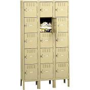 Tennsco Box Locker BK5-121512-3-LGY - Five Tier w/Legs 3 Wide 12x15x12 Unassembled, Light Grey