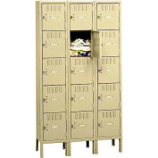 Tennsco Box Locker BK5-121512-3 216 - Five Tier w/Legs 3 Wide 12x15x12 Unassembled, Putty