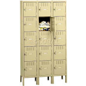 Tennsco Box Locker BK5-121812-3 214 - Five Tier w/Legs 3 Wide 12x18x12 Unassembled, Sand