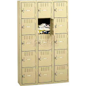 Tennsco Box Locker BS5-121812-C 214 - Five Tier No Legs 3 Wide 12 x 18 x 12, Assembled, Sand
