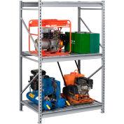 "Tennsco Bulk Storage Rack - 48""W x 24""D x 120""H - Starter - 3 Shelf Levels - Steel Deck - Light Gray"