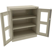 """Tennsco C-Thru Standard Counter Height Cabinet CVD1442 214 - Unassembled, 36""""W X 18""""D X 42""""H, Sand"""