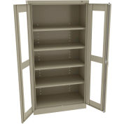 """Tennsco C-Thru Standard Storage Cabinet CVD1470 214 - Unassembled, 36""""W X 18""""D X 72""""H, Sand"""