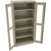"""Tennsco C-Thru Deluxe Storage Cabinet CVD1870 214 - Unassembled 36""""W X 18""""D X 78""""H, Sand"""