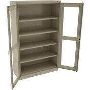 """Tennsco C-Thru Jumbo Storage Cabinet CVDJ1878A-N-SND - Unassembled  48""""W X 18""""D X 78""""H, Sand"""