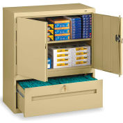 Tennsco Combination Shelf Drawer Cabinet DWR-4218-SND - 36x18x42 1 Drawer, 2 Shelf, Sand