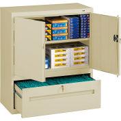 "Tennsco Combination Shelf Drawer Cabinet DWR-4218-CPY - 36""WX18""DX42""H, 1 Drawer, 2 Shelf, Putty"