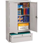 Tennsco Combination Shelf Drawer Cabinet DWR-6618-LGY - 36x18x66 1 Drawer, 2 Shelf , Light Grey