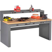 Tennsco EB-2-3672C Panel Leg Workbench - 8 Outlet Panel & Riser, Compressed Wood Top 72x36x47-1/4