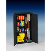 "Tennsco Janitorial Cabinet JAN6618DH-BLK - Welded 36""W x 18""D x 64""H Black"