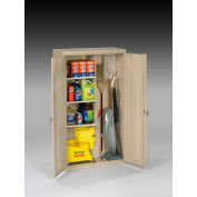 "Tennsco Janitorial Cabinet JAN6618DH-CPY - Welded 36""W x 18""D x 64""H Champagne Putty"