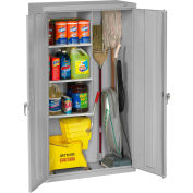 "Tennsco Janitorial Cabinet JAN6618DH-LGY - Welded 36""W x 18""D x 64""H Light Gray"