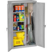 "Tennsco Janitorial Cabinet JAN6618DH 53 - Welded 36""W x 18""D x 64""H Light Gray"