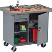 """Tennsco MB-2-2542 Mobile Workstation - 1 Locking Drawer & Cabinet 42""""W x 25""""D x 36-1/4""""H - Gray"""