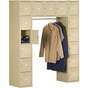 Tennsco Box Locker SRK-601878-1 02 - 15 Person w/Legs, 12x18x12, Unassembled, Medium Grey