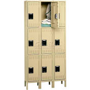 Tennsco Steel Locker TTK-121224-3 214 - Triple Tier w/Legs 3 Wide 12x12x24, Unassembled, Sand