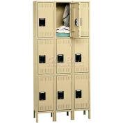 Tennsco Steel Locker TTK-121224-3-SND - Triple Tier w/Legs 3 Wide 12x12x24, Unassembled, Sand