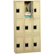Tennsco Steel Locker TTK-121224-C 03 - Triple Tier No Legs 3 Wide 12x12x24, Unassembled, Black