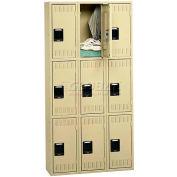 Tennsco Steel Locker TTK-121224-C 214 - Triple Tier No Legs 3 Wide 12x12x24, Unassembled, Sand