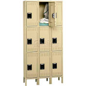 Tennsco Steel Locker TTK-121524-3 053 - Triple Tier w/Legs 3 Wide 12x15x24, Unassembled, Light Grey