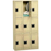 Tennsco Steel Locker TTK-121524-C 053 - Triple Tier No Legs 3 Wide 12x15x24, Unassembled, Light Grey