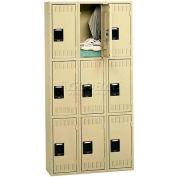 Tennsco Steel Locker TTK-121524-C 214 - Triple Tier No Legs 3 Wide 12x15x24, Unassembled, Sand
