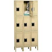 Tennsco Stee Locker TTK-121824-3-MGY - Triple Tier w/Legs 3 Wide 12x18x24, Unassembled, Medium Grey